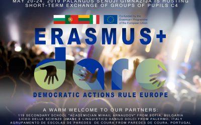 Gimnazijoje svečiuosis Erasmus + tarptautinio projekto DARE dalyviai