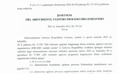 DĖL GIMNAZIJOS DIREKTORIAUS 2021-04-29 ĮSAKYMO NR.V1-52 PAKEITIMO